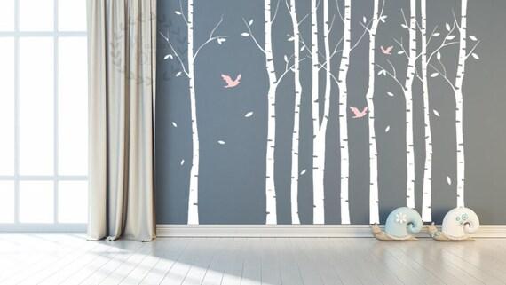 Articoli simili a albero parete adesivi grande betulla albero murale albero e gli uccelli parete - Albero su parete ...