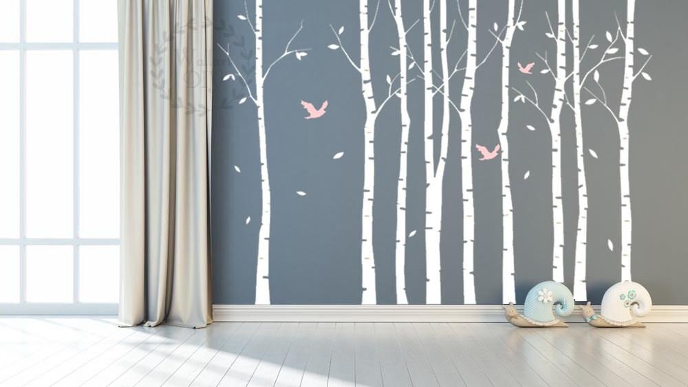 Albero parete adesivi grande betulla albero murale albero e - Stencil parete albero ...