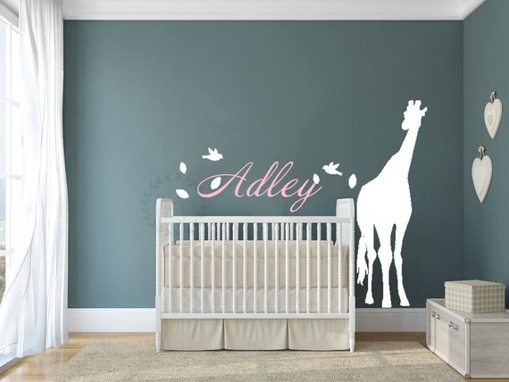 giraffe wall decals giraffe name wall decal nursery giraffe | etsy