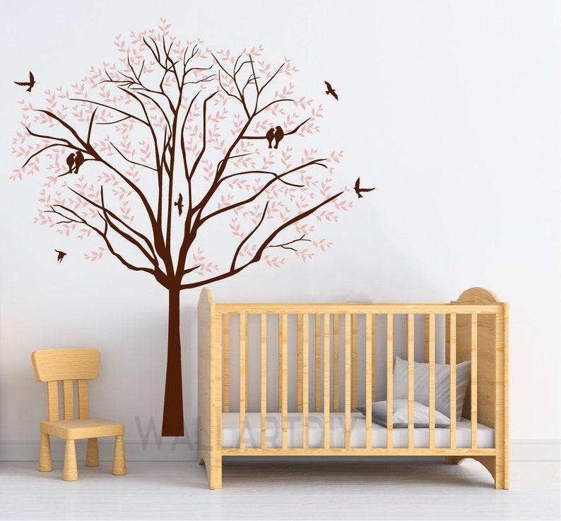 Baum Wandtattoo Kinderzimmer rosa Baum weißen Baum Aufkleber Riesen Baum  Wand Wandbild Baum und Vögel Wand Aufkleber Natur Wand Aufkleber-21