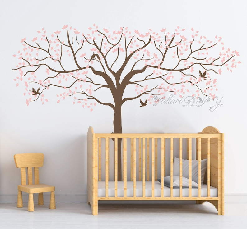 pink tree wall decals tree and birds wall murals nursery tree | etsy