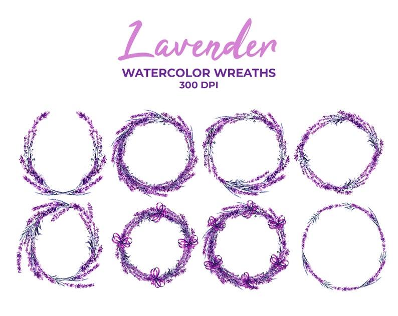 Lavender Wreaths Watercolor Clipart Floral Wedding Clipart Frames Wildflower Violet Flower Wreath PNG Purple Arrangements Digital Download