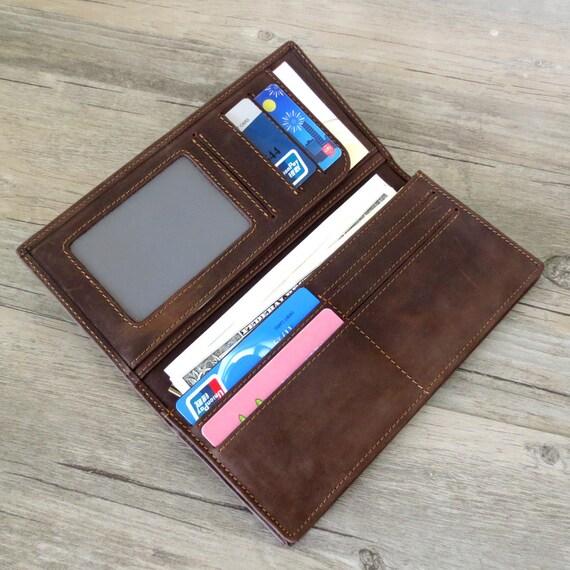 Gepersonaliseerde mannen portemonnee Mens Leather Wallet, lederen portemonnee, Mens lange portefeuille, cadeau voor mannen, giften voor hem, man