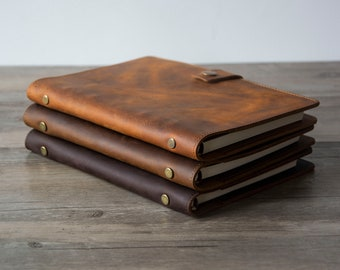 Personalized A5 / A6 Leather Refillable Planner Binder, 6 ring Refillable, travelers Journal, sketchbook, Distressed Brown Leather
