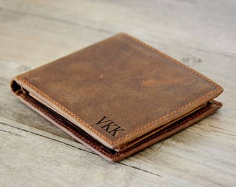 Father's Day,Personalized Mens Wallet, Engraved Wallet, Personalized Monogrammed gift, Groomsmens Wallet ,Brown Wallet