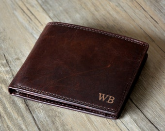 Personalized Mens Wallet, Engraved Wallet,Monogrammed Leather Wallet, Groomsmens Wallet Groomsmens gift Wallet, father gift ,dark brown