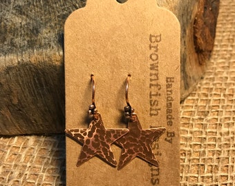Up Cycled Copper Star Earrings - Large