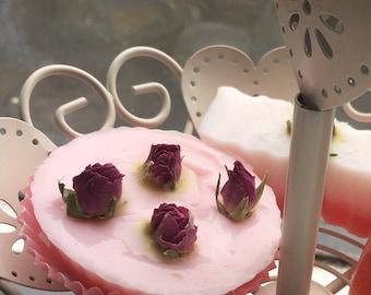 Rose bud cupcake soap