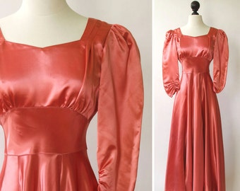 61f22a7991e vintage 1940s gown    1940s satin gown    40s pink salmon color gown     1940s satin dress