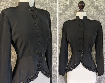 vintage late 1930s early 1940s womens suit jacket with sequin trimmed draping peplum