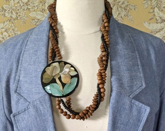 vintage 1980s wood bead necklace with abalone pendant and matching earrings