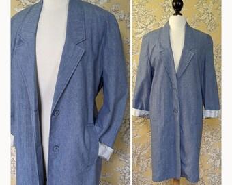 vintage 1980s long cotton denim look jacket