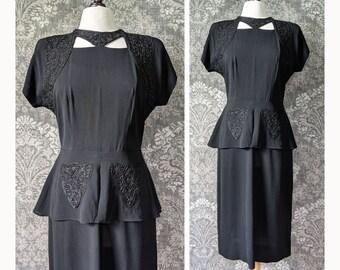 vintage 1940s black dress with soutache