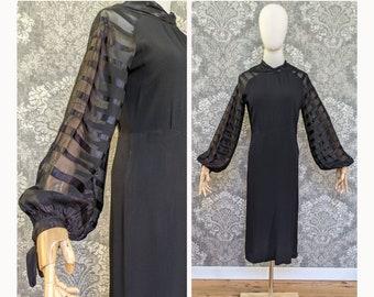 vintage 1930s black dress with long sheer stripe sleeves