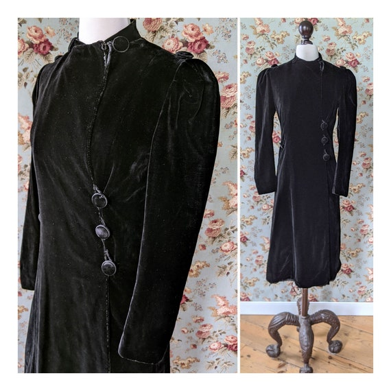 vintage AS IS 1940s black velvet coat