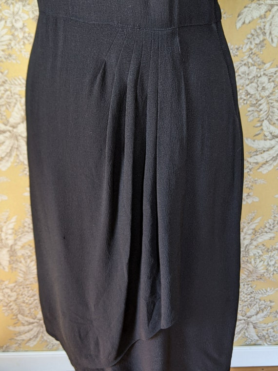 vintage late 1940s/early 1950s black dress with s… - image 10