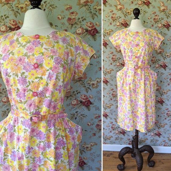 vintage early 1960s cotton floral print day dress