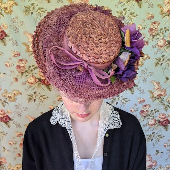 vintage 1930s straw hat <> 1930s medium wide brim