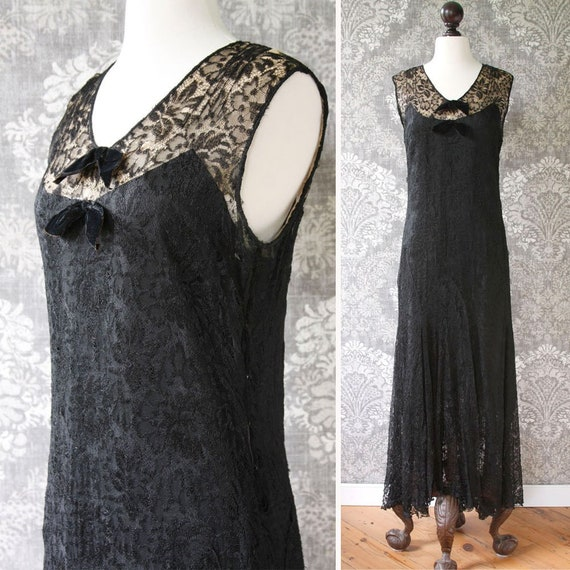vintage AS-IS early 1930s gown <> 1930s black lace