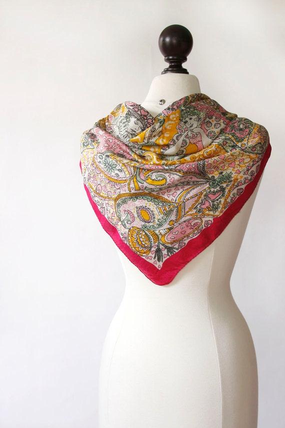 vintage 1940s silk scarf <> 1940s hand rolled silk
