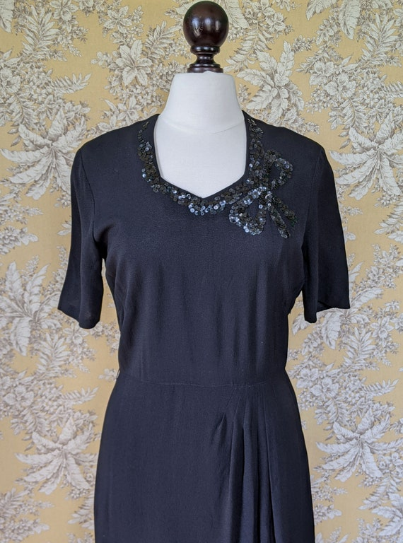 vintage late 1940s/early 1950s black dress with s… - image 7