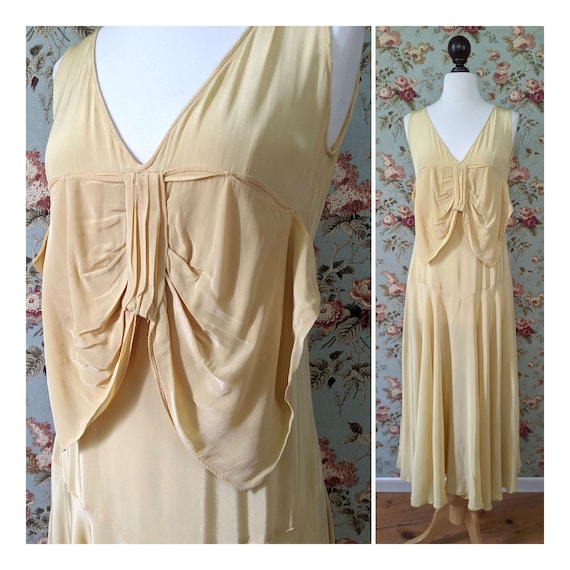 vintage AS IS late 1920s pale yellow dress with la