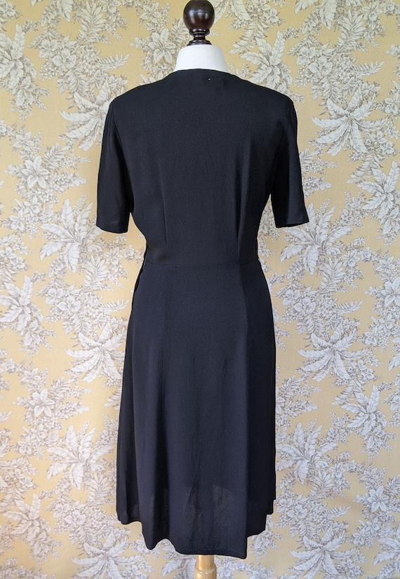 vintage late 1940s/early 1950s black dress with s… - image 5