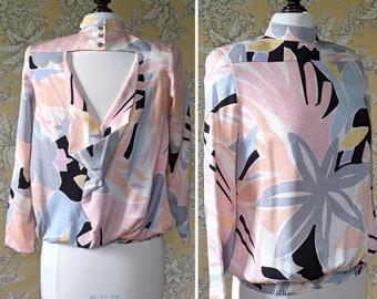 vintage 1980s silk print open back blouse
