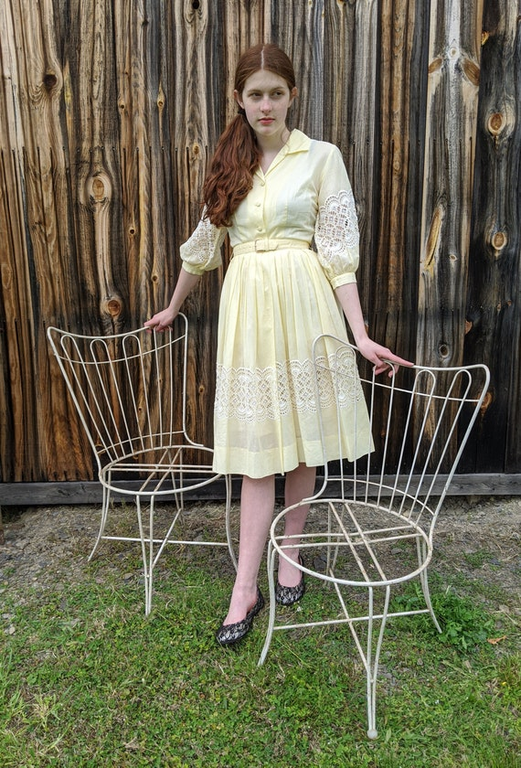 vintage early 1960s yellow dress <> early 1960s sh