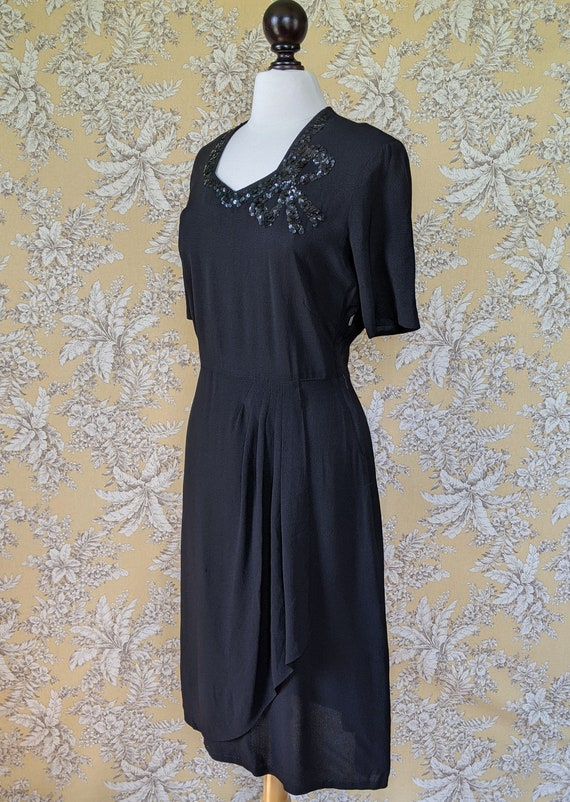 vintage late 1940s/early 1950s black dress with s… - image 6