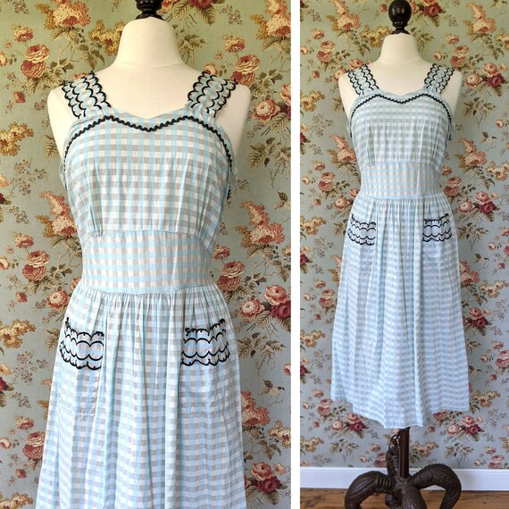 vintage late 1940s/ early 1950s  cotton check sund
