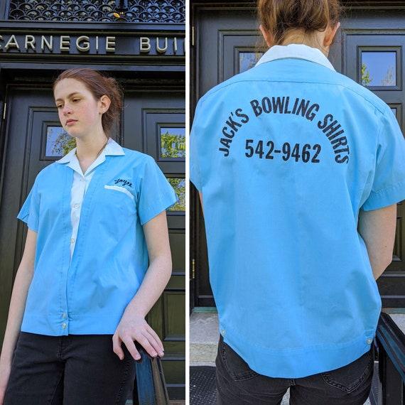 vintage 1960s womens bowling shirt <> 60s aqua 2-t