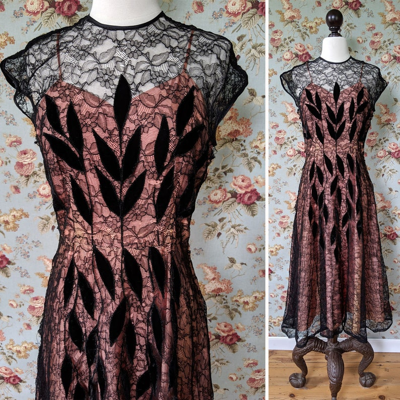 vintage as is 1940s dress <> 1940s black lace dress with velvet decoration <> 40s lace dress over pink taffeta <> make an offer