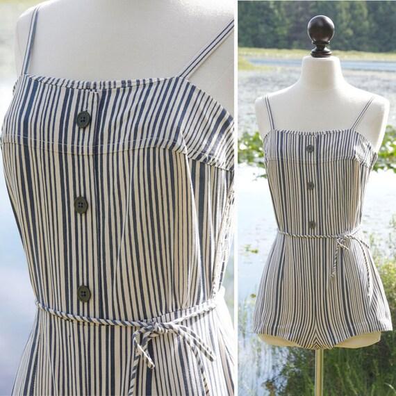 vintage 1950s bathing suit <> 50s stripe print swi