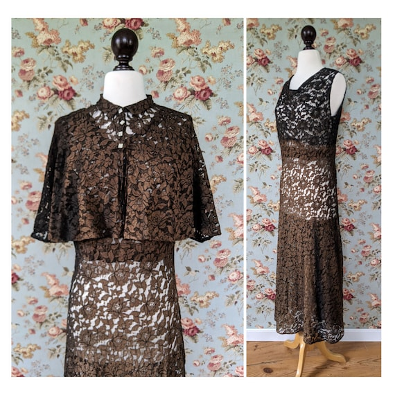 vintage AS IS 1930s faded black lace dress and cap