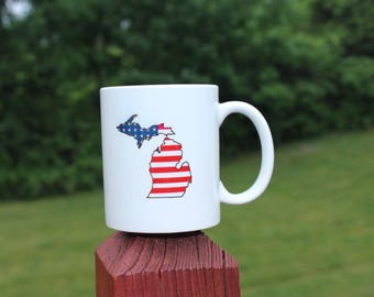 American Flag Michigan Mug