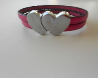 Bracelet leather, pink