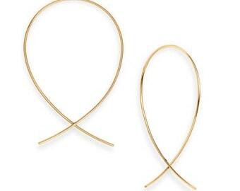 Upside down hoop earrings