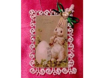 Vintage Style Victorian Easter Card Tree Ornament - Bunny Playing Music