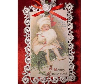 Vintage Style Victorian Christmas Card Tree Ornament - Waiting