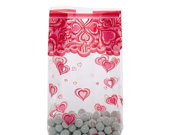 100 Cellophane Party Favor Candy Bags, Party Bags, Animal Treat Bags, Gift Bags, Snack Bags, Confection Treat Bags, Soap Bags - Hearts