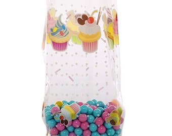 100 Cellophane Party Favor Candy Bags, Party Bags, Gift Bags, Snack Bags, Confection Treat Bags, Soap Bags - Cupcakes