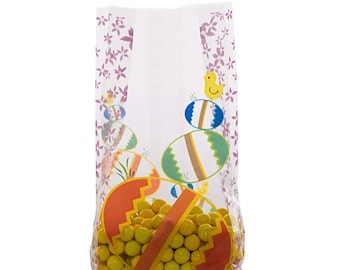 100 Cellophane Party Favor Candy Bags, Easter Egg Print, Party Bags, Gift Bags, Confection Treat Bags, Soap Bags