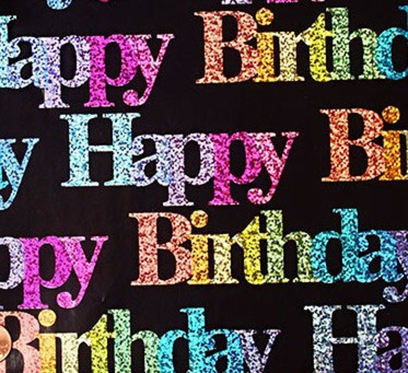 30 X 15 Foot Roll Glitzy Birthday Wrapping Paper