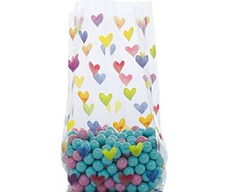 100 Cellophane Party Favor Candy Bags, Party Bags, Gift Bags, Confection Treat Bags, Soap Bags - Rainbow Hearts