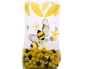100 Cellophane Party Favor Candy Bags, Party Bags, Gift Bags, Confection Treat Bags, Soap Bags - Honey Bee