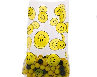 100 Cellophane Party Favor Candy Bags, Party Bags, Gift Bags, Snack Bags, Confection Treat Bags, Soap Bags - Smiley Face
