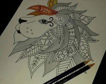 Adult Colouring Page, Paisley Lion