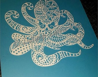 Paisley Octopus, DIY, Paper Cutting Template