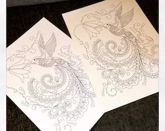 Adult Colouring Page, Hummingbird, Coloring